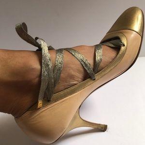 Vintage CHANEL Ballerina Rose Gold/Gold Pumps